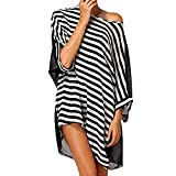 NiceButy Damen Gestreifter Badeanzug Überzug für den lässigen Strand des Trachtenkleid mit oberem Stil des Bikini Coverup