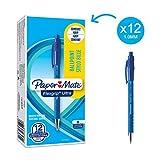Paper Mate Flexgrip - Bolígrafo, punta mediana de 1.0 mm, caja de 12, color azul