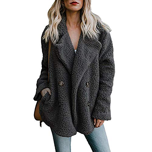 Damen Casual Jacke Winter Warm Parka Outwear Mantel Frauen Fuzzy Faux Pelz Langarm Strickjacke Wintermantel Einfarbig Trenchcoat Umlegekragen Winterjacke Dicker Pelzkragen Jacken(schwarz,M)