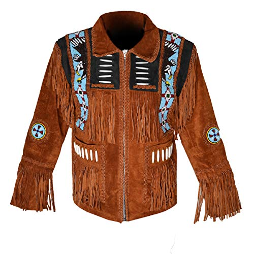 HLS Men's Western Cowboy Eagle Fringed Suede Leather Jacket D6 - Tan Brown V3 - Large -