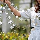 SAKUROO 4M Twinkle Schneeflocke Papiergirlanden Anhänger Ornamente Weihnachtsschmuck für Zuhause Neujahr Zubehör, Schneeflocke Silber