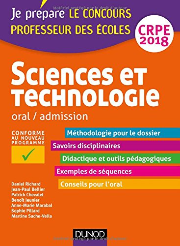 Sciences et technologie - Professeur des coles - Oral, admission - CRPE 2018