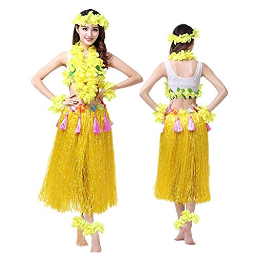 37be717787f1a Hawaiano Hula Vestido Falda Hierba Guirnaldas de flores Accesorios de playa  Dance Costume Disfraces Amarillo