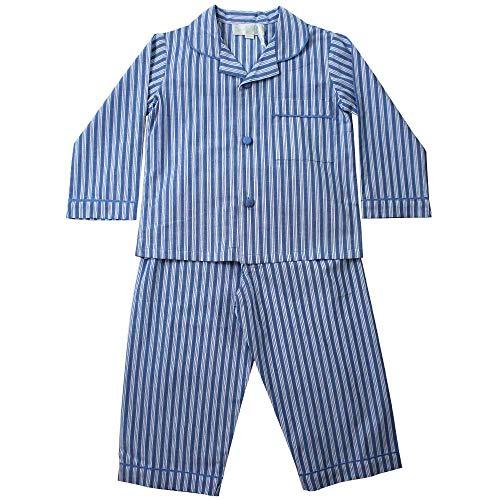 Powell Craft Boys Louis Pyjamas. 100% Cotton. Blue Striped.