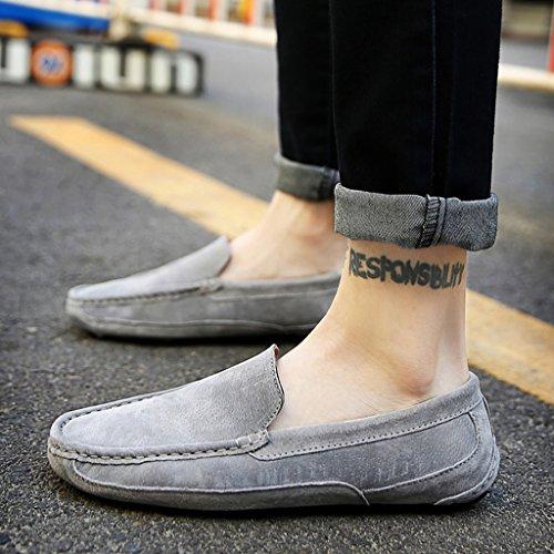 Eagsouni® Herren Mokassins Bootsschuhe Wildleder Loafers Schuhe Flache Fahren Halbschuhe Sommer Beiläufig Slippers Hausschuh #3Grau