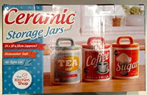 Retro Set 0f 3 Classic 50's/60's Style Tea, Coffee & Sugar Canisters /Jars by Vintage Home