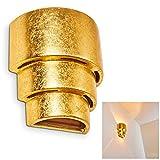 Wandspot Karatschi in Goldfarben mit Up & Down-Effekt – halbrund mit kunstvoller Kerbe - Moderner Wandstrahler für Wohnzimmer - Esszimmer Lampe - Flurlampe – E27-Fassung –