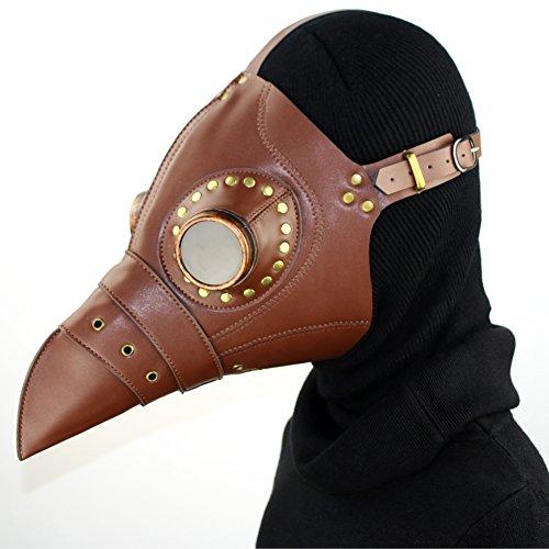 XC Steampunk Brown Red Bird PU Leder + Harz Maske, Halloween Rollenspiel Ball Party Maske, Braun Rot
