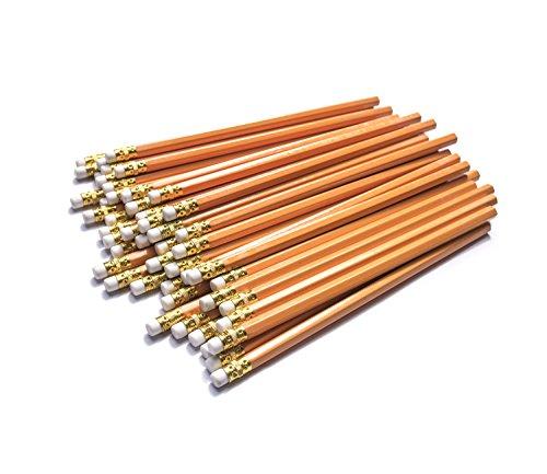 Dahomez 50pcs 2hb Bleistift mit Radiergummi Woodcase Rubber top Einfach Schärfen Blei Stift