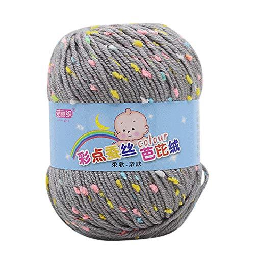 Oyedens 50g Hand Stricken Knicker Garn häkeln weiche Schal Pullover Hut Garn Strickwolle Strickgarn, 65% Seide Wolle + 35% Barbie Wolle