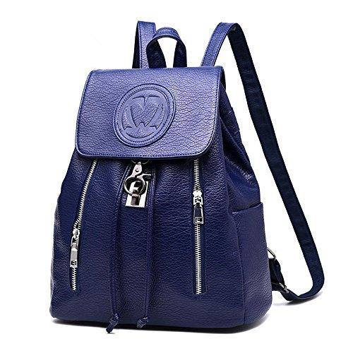 HQYSS Damen-handtaschen Koreanische Vertikalschnitt geprägte lässig PU Ledertasche Frauen Multi-Color-Schultern treasure blue