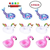 DZH Enjoy Inflatable Drink Holders Summer Water Float Toy 9 Packs Drink Floats Mermaid Unicorn Flamingo Cup Holders Coasters Pool Party and Kids Bath Toys