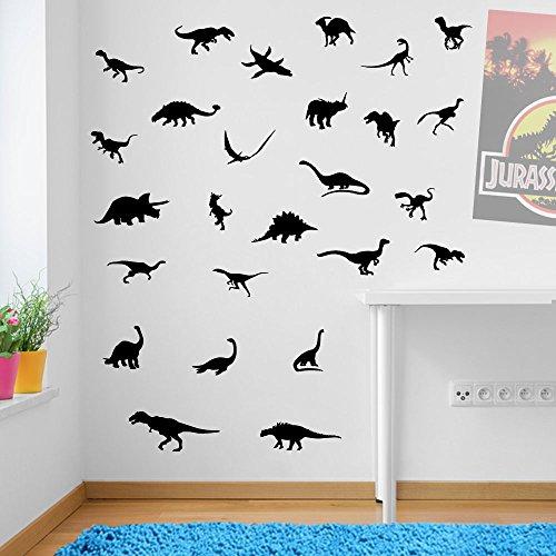 Dinosaurier Wand Aufkleber Dinosaurier Dino Jurassic Park Wand Dekorationen Fenster Aufkleber Wall Decor Sticker Wall Art Aufkleber Sticker Wand Aufkleber Aufkleber Wandbild Décor DIY Deco Abnehmbare Wandaufkleber Colorful Aufkleber, Vinyl, schwarz, Large