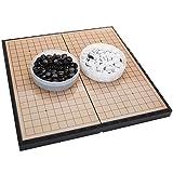 FunnyGoo Juego de Tablero de ajedrez magnético go con Piedras plásticas magnéticas y Tablero de ajedrez IR Plegable, 11.2 x 11.2 Pulgadas