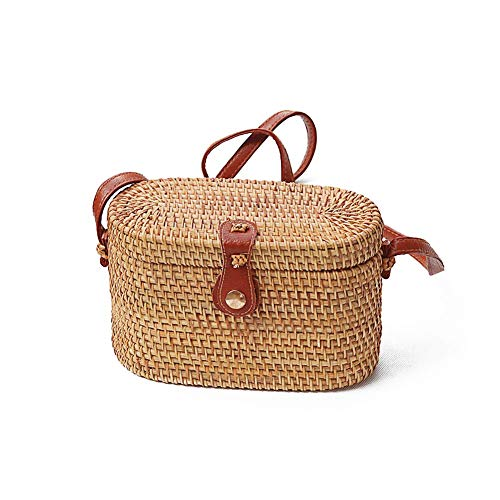 Bobopai Women Handwoven Wicker Weave Bag Messenger Bag Round Rattan Bag Shoulder Leather Straps Natural Chic Handbag Beach Bag Handmade Gifts (4# 20 * 9 * 13cm)
