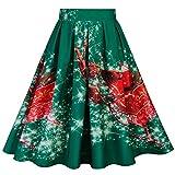 Amphia - Damen Print Plissee Blumenrock,Frauen-Weinlese A-line Weihnachten hohe Taille drucken Plissee ausgestelltes Kleid Midi Röcke(Grün,L)