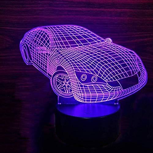 Veilleuse LED, Lampe De Table Pour Enfants Adultes Porsche 3D Visual Slide, Cadeau D'anniversaire De Noël De Décoration De Bureau (edition : Seven color touches)