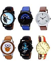 NIKOLA Contemporary 3D Design Mahadev Beard Style Black Blue And Brown Color 6 Watch Combo (B22-B47-B44-B55-B23...
