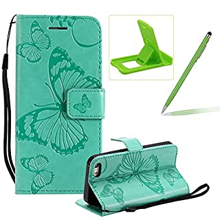 Strap Leather Case for iPhone SE,Wallet Leather Case for iPhone 5S,Herzzer Premium Stylish Pretty 3D Green Butterfly Printed Bookstyle Magnetic Full Body Soft Rubber Flip Portable Carrying Stand Case with Card Holder Slots