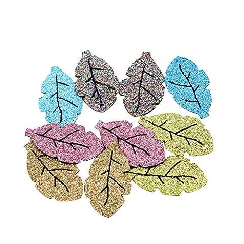 Gazechimp 10er Glitter Blätter Haar Ornament basteln Handwerk (Glitter Blätter)