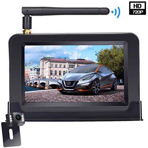Yakola W9 Kabellos Digital-Rückfahrkamera-Set mit eingebautem Funksender, Wireless Wasserdicht IP68-Backup-AutoKamera, (10,9cm) 4,3\'\'-LCD-Monitor, LED Nachtsicht für SUV,Van,KfZ,Anhänger