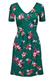 NEW LADIES WOMENS FLORAL GREEN SUMMER DRESS SHORT SLEEVE