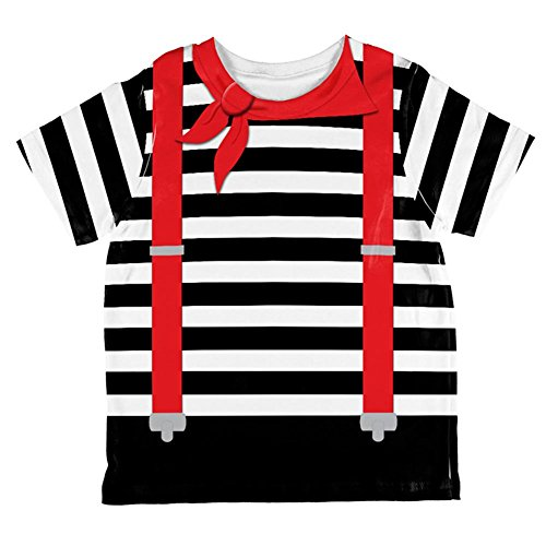 Halloween Französisch Mime-Kostüm auf der ganzen Kleinkind T Shirt Multi 6 t