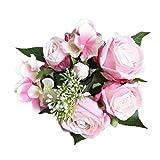 Longra Wohnaccessoires & Deko Künstliche Kunstblumen 1 Bouquet 8 Blume Künstliche Rose Gefälschte Seide Blume Blatt Braut für Hochzeit, Party, Blumenstrauß und Heimdeko Blumendekoration (E)