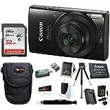 Canon PowerShot ELPH 190 IS 20 MP Digital Camera (Black) W/ 32GB Accessory Bundle
