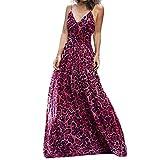 Amlaiworld Vestido de Fiesta de Mujer Vestido Largo con Estampado de Leopardo Sexy para Mujer Vestido de Cintura Alta con Cuello en v Vestidos de Playa