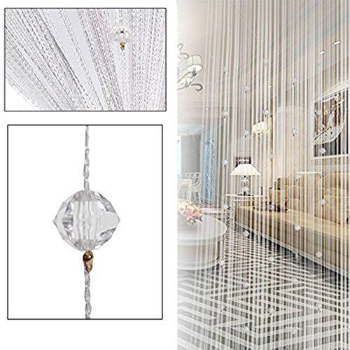 Hpybest Fadenvorhang, Perlen, für Türen, Fenster, Dekorative Kette, Gardinen, Wand, Fenster, Tür, Fransen, Raum, 100 x 200 cm