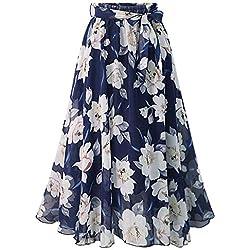KasenA Falda Ocasional Larga Maxi de Impresión de Estilo Bohemio Mujeres Azul 5XL