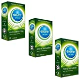 Exure 3 packs of 18 Ribbed condoms (54) - 100% electronically tested, CE0123 certified by Exure