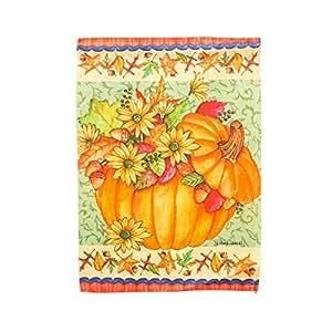 Autumn Leaves and Flowers Pumpkin Bucket Garden Flag