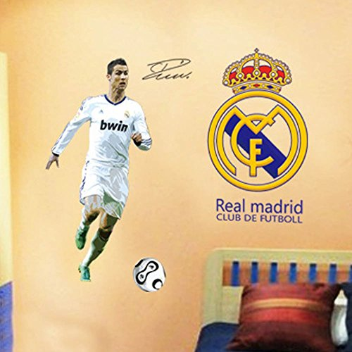 Zooarts Real Madrid C Luo Football Super Star Mural Removable Vinyl Wall Sticker Decals by Zooarts