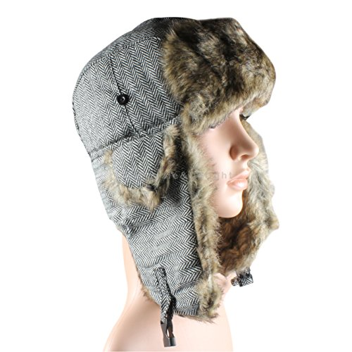 Grey Herringbone Trapper Hat Russian Cossack Ski Hat Warm Winter Thermal