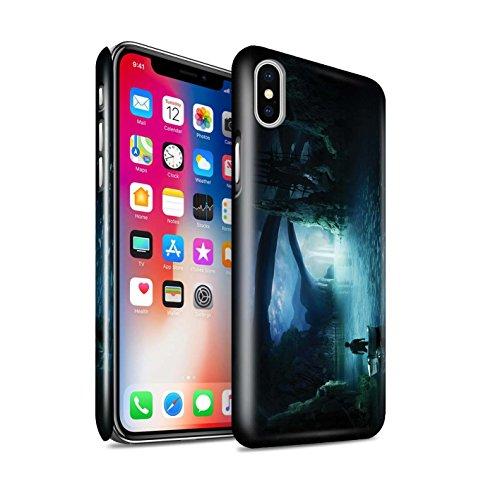 Offiziell Elena Dudina Hülle / Glanz Snap-On Case für Apple iPhone X/10 / Grünes Feld Muster / Fantasie Landschaft Kollektion Nacht Ausflug