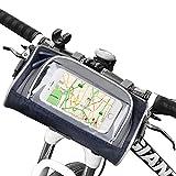 Migimi Fahrrad Lenkertasche, Wasserdichte Mountain Bike Taschen mit Telefon-Touch-Screen-Fenster und Abnehmbarem Schultergurt, Schutzhülle Tasche Universal für Smartphones - Dunkelblau