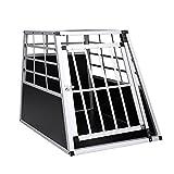 WIS Hengda Hundetransportbox Alu Größe 65x90x69.5cm Silber-Schwarz Auto Transportbox für Den Transport Große Hunde