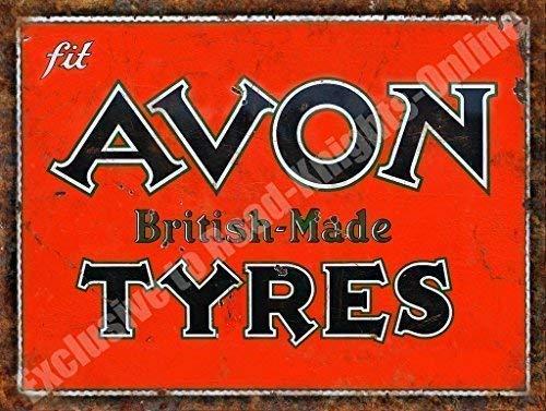 Avon rotelle in gomma prodotto in inghilterra arruginato garage vintage metallo/targa da parete in acciaio - 30 x 40 cm