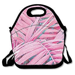 Picnic Bag.K Pink Plam Tropical Insulated Lunch Bag Picnic Lunch Tote