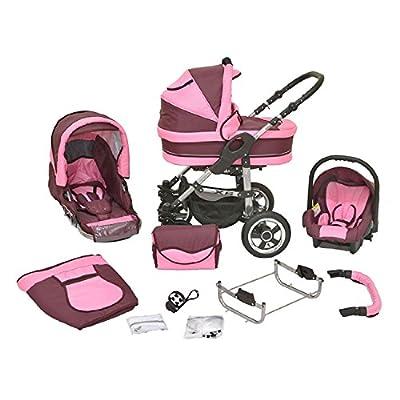 Kombi Kinderwagen Premium 3 in 1 - Kombikinderwagen Buggy bordeaux-rosa