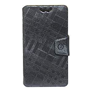 J Cover Krish Series Leather Pouch Flip Case With Silicon Holder For Nokia Lumia 638 Grey