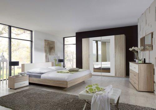 lifestyle4living 3-tlg. Schlafzimmer in Eiche sägerau-Nachb. mit Abs. in alpinweiß, Kleiderschrank Breite: 225 cm, Futonbett 180 x 200 cm, 2 Nachtschränke
