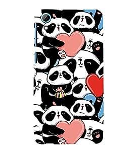 Fiobs Designer Back Case Cover for HTC Desire 826 :: HTC Desire 826 Dual Sim (Panda Heart Beautiful Lovely)