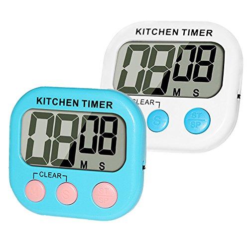 2 pack Elektronischer Timer MOMONY Digitalem Küchentimer Großer LCD-Bildschrim Digital Timer Magnetische Rückseite countdown timer Anhänger & Faltständer Küchenwecker Stopp-Uhr-Funktion Kurzzeitwecker (Ei-timer Digital)
