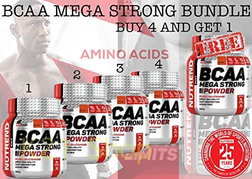 Nutrend BCAA MEGA STRONG POWDER PLUS L-GLUTAMINE 300g Orange Flavor amino acids L-leucine, L-isoleucine and L-valine 4:1:1 ratio