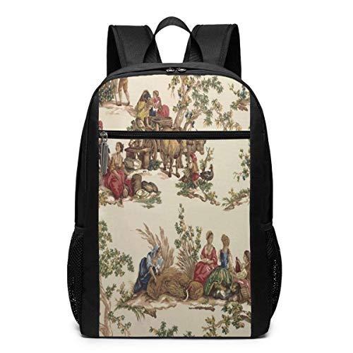 TRFashion Rucksack French Country Toile Print 17 Inch Travel Laptop Backpack Shoulder Bag Schoolbag Book Bag for Men Women Black - Kate Notebook-tasche Spade