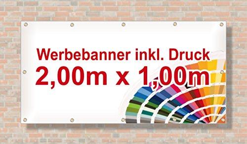 Baugerüst   PVC Banner / Werbebanner / Werbeplane   2m x 1m   inklusive Saum und Ösen   brillanter Druck - besonders stabil - wetterfest   510g/m²   einseitig mit