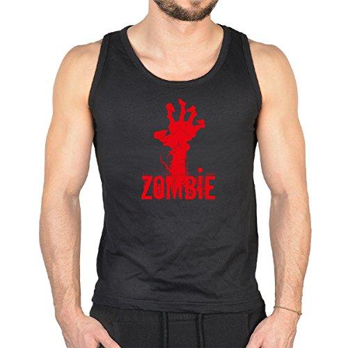 Herren Tank Top mit Zombie Hand zum Gruseln! Cooles Muskelshirt, Trägershirt für Halloween (Smiley Scary Movie)